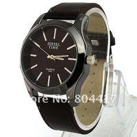 Наручные часы Fashion Brown Gentle Men's Man Leather Analog Dress Quartz Wristwatches