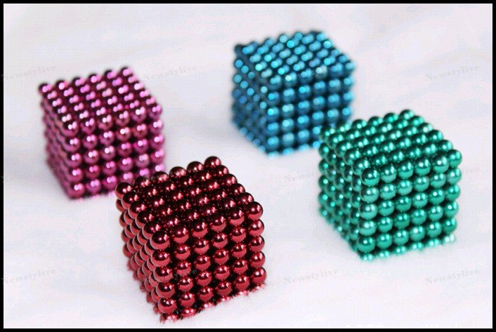 Wholesale (116sets Pack)-216 Neo Neodymium 5MM Magnets Magnet Balls Cube Puzzle Pink Blue Red Green Gold Sliver Purple-Red
