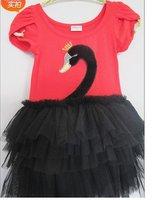Free Shipping 4PCS/lot Wholesale Girls Summer  fashion  Cartooon printing short-sleeved Dress, Princess Dress