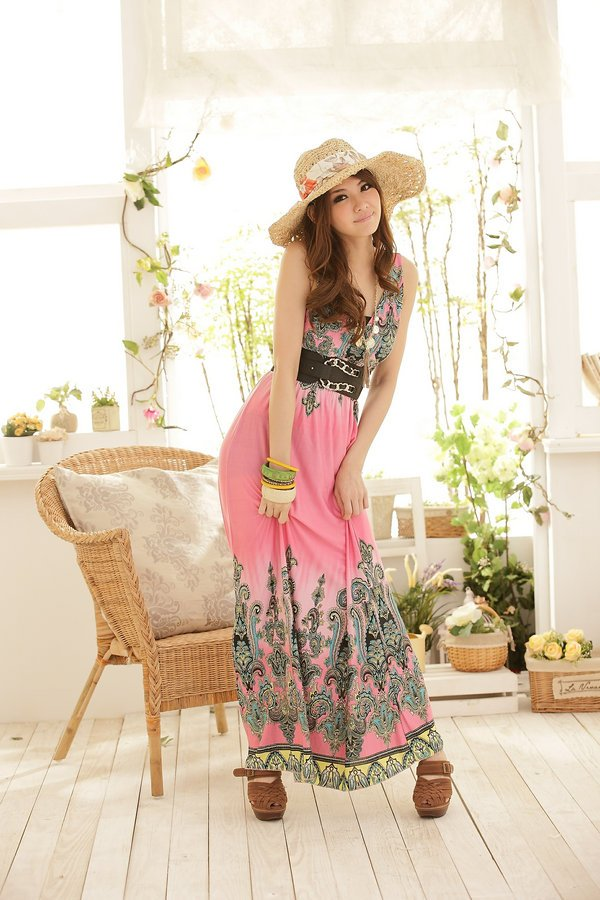 Free Shipping Womens Long dress Bohemia New Fation Halter Maxi Dress Wholesale 1Pcs/Lot Summer