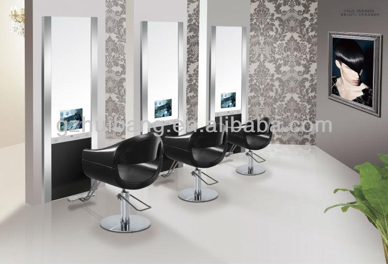 Salon de coiffure miroir station station de style avec tv for Coiffeuses avec miroir