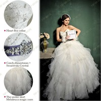 DC3 Tulle Silver White Crystal Beaded Pleating Empire  Wedding Gowns