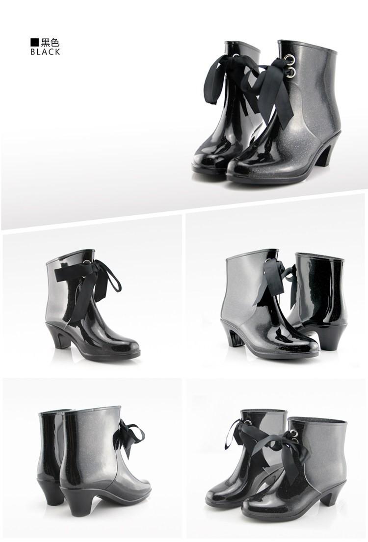 New 2014 Fashion,Lace up Short High-heeled Women Rain boots Waterproof  Women Wellies Boots Water Shoes,Free Shipping R-0018