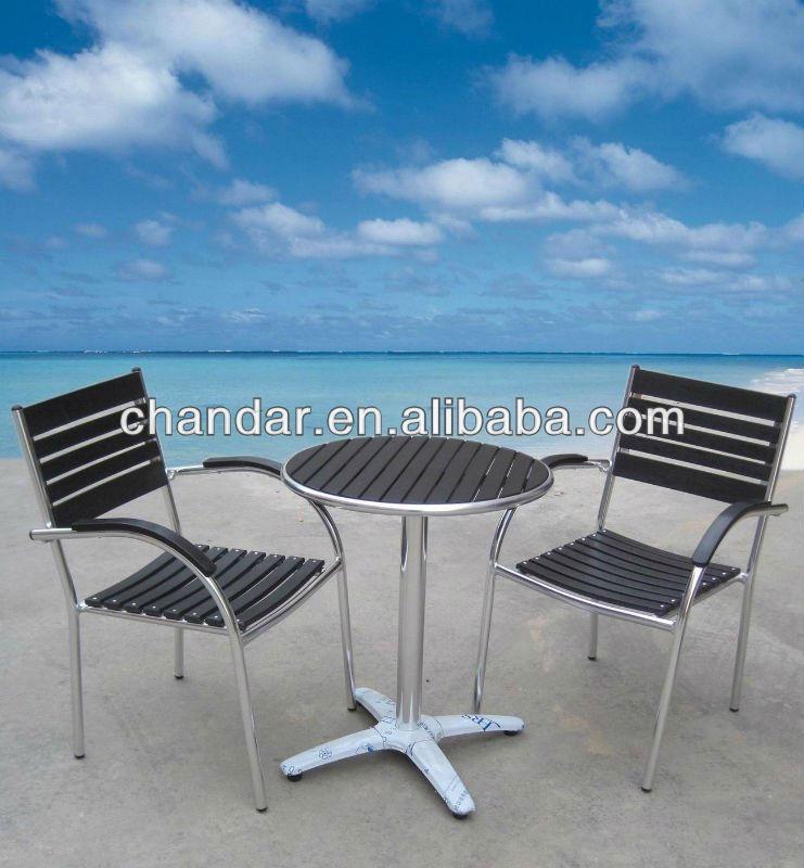 Black Plastic Wood Top Aluminum Chair Patio Furniture