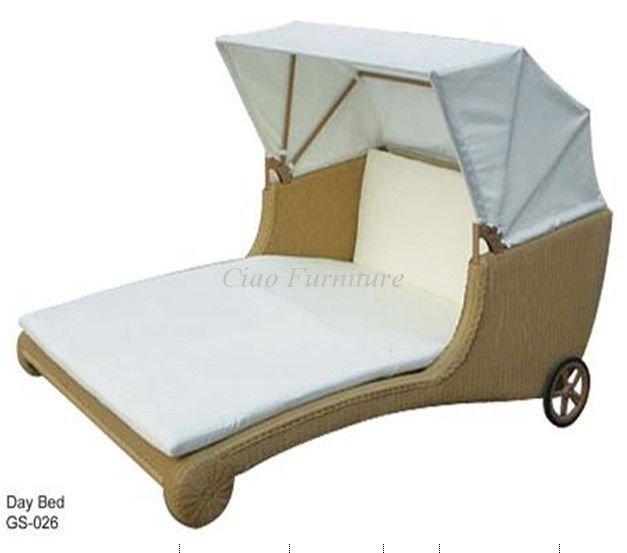 등나무 야외 가구 캐노피 더블 sunlounger 휠-등나무 / 위커 의자 ...