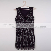 Платье на студенческий бал 5pcs/lot Fashion Women's Dress Blue Purple Red Color Vintage Rhinestone Heart Pattern Tank Prom Dress ZC56371