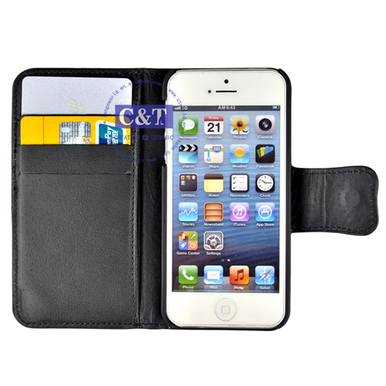 C&T Luxury New design Flip Wallet leather case for iphone 5