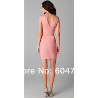 Платье для вечеринки Christmas Gifts New Deep V Sexy Hot Sale Pink Bandage Party Dress XS S M L