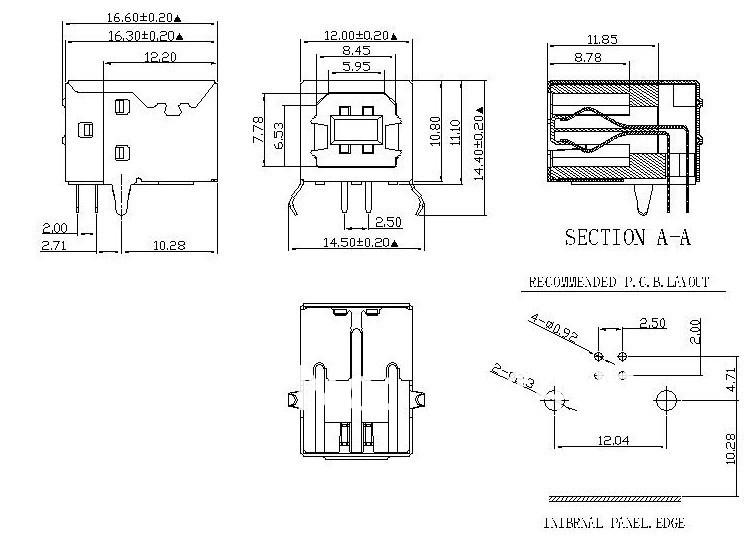 Usb разъем типа B разъемом 90 град. игла тип принтера интерфейс ...