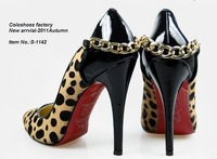 Туфли на высоком каблуке Pointed toe, leopard, fashion metal chain, 12 cm high heel Pumps shoes