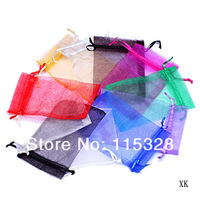Free Shipping,  500pcs/lot  9x12cm  multicolor Christamas /Wedding Drawable Organza Voile Gift Packaging Bags&Pouches