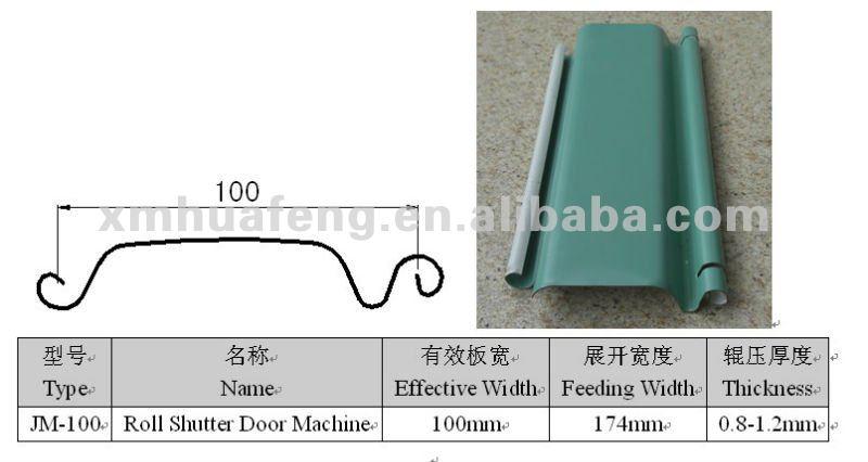 Profile Drawing For JM100 Shutter Door Lath Machine