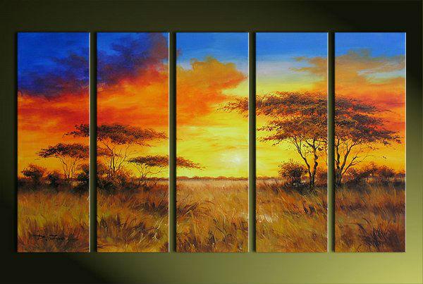 Cinco díptico pintura al óleo de la pradera paisaje puesta del sol ...