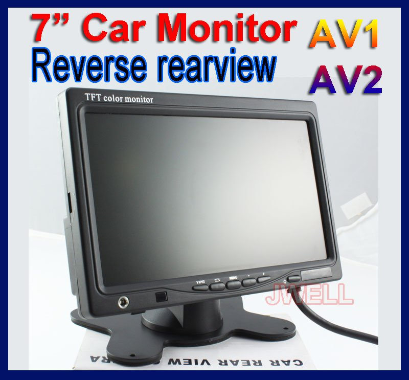 "High quality 7"" TFT LCD Car Monitor Reverse Rearview monitor 2AV input 1 Audio output Free shipping"