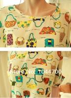 2014 new fashion ladies Korea bat sleeve loose big yards chiffon shirt women's t-shirt shirt bottoming shirt