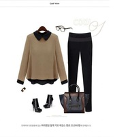 Женские блузки и Рубашки Euro-Amer round neck temperament long sleeve Blouses casual T-shirt women clothes1306 retail
