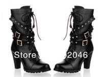 Free Shipping 2012 Knights Boots America And Europe Mechanical Boots Metal Decorative Rivet Belt Buckle System Band Of The Boots