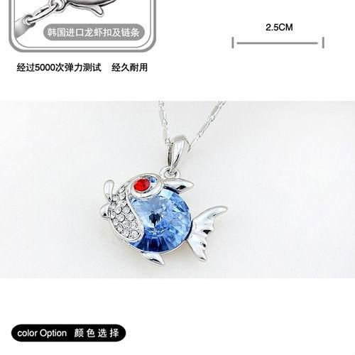 beautiful goldfish white gold plated jewelry crystal nacklace