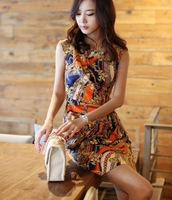 New Women's O-Neck Print Vintage Dress OL Sleeveless Vest Dresses 2425