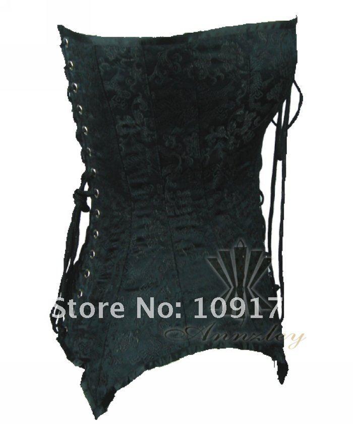 Black Steel Boned Waist Training Corset Top (3).jpg