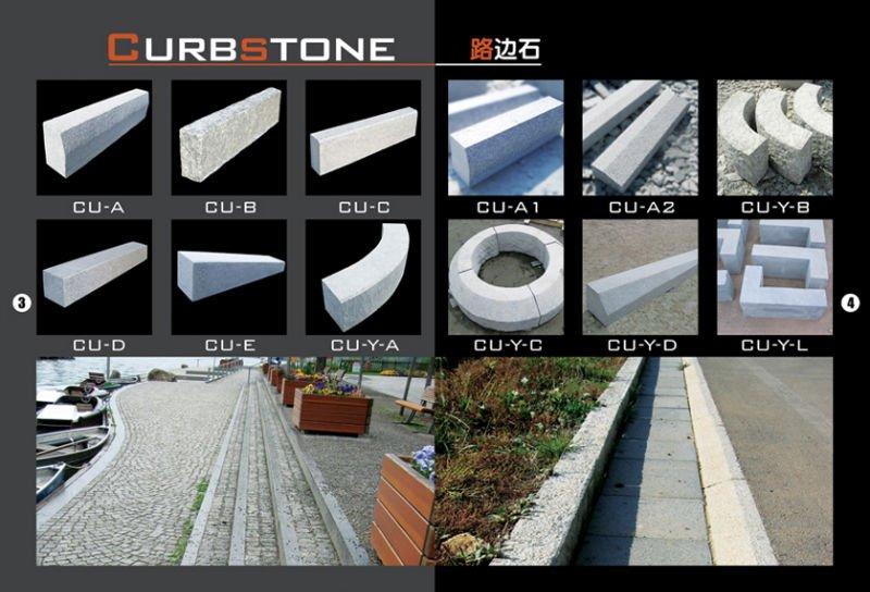 G341 grey granite roadside stone