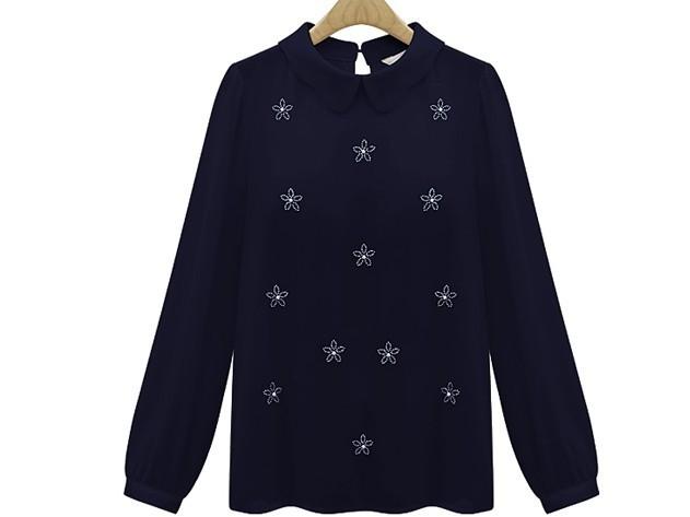 Продажа Мода длинным рукавом бисером Питер воротник шифон женщин рубашки z-fp5811