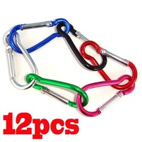 12 x Carabiner Camping Clip Snap Hooks Keychain Keyring[99579]