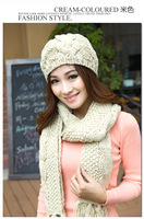 Женские шарфы, Шапки, Комплекты 2013 New Winter Set the Hat and Scarf for Women Warm Acrylic Beanie with Scarf