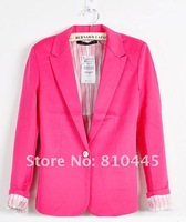 Женская куртка Fashion candy color suit blazer women turn back cuff jacket )