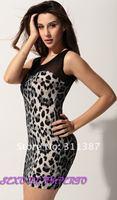 Женское платье 2012 fashion Leopard yarn high resilience nightclubs dress, party, women bandage skirt, dress womenSYF02011