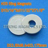 Магнитные материалы N35, d23.8x8.64x3.175mm, 1