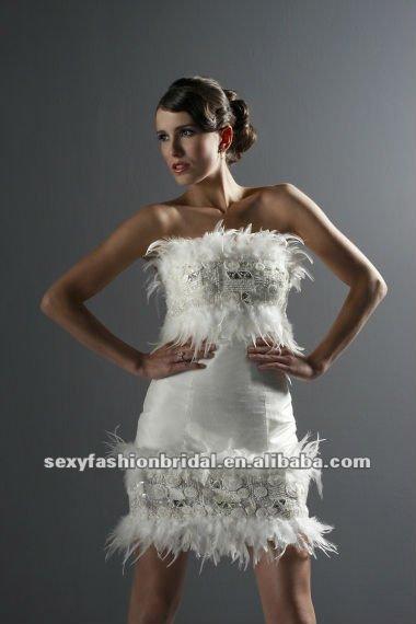 strapless feather beaded accented de short wedding dress long train 57 1
