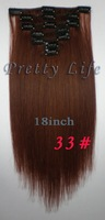 Волосы для наращивания 18 Sraight 100% Remy , 7pcs 70g 15 , #33 1