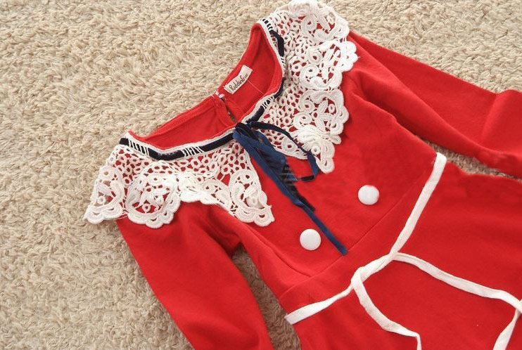 Free shipping new fashion lace collar children girl autumn and spring dress long sleeve red dark blue 4pcslot wholesale.jpg