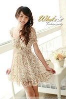 free shipping short sleeve womens floral summer chiffon dress wholesale and retail