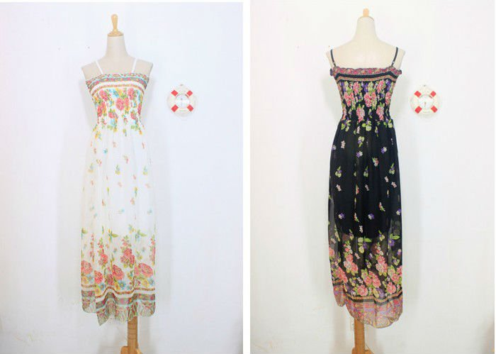 2012 New Design Maxi Printed Chiffon Dress