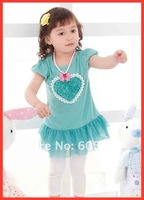 Ball Gown Baby dress wear Girls  dress/Loving heart design/ 2 colors: Pink and Blue Free Shipping