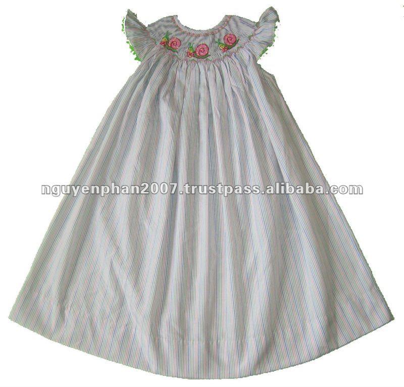 blanco rayas azul caracoles batas bebé niñas vestido de obispo