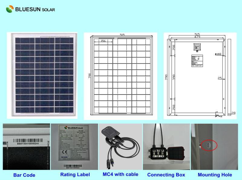 Bluesun the most attractive design 50w polycrystalline photovoltaic solar panels