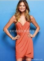 Женская туника для пляжа 2013 New Sexy Women Open-Back Wrap Front Swimsuits Bikini Cover Up Beach Dress