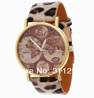 Наручные часы JW093 Beard Mustache Series World Map Quartz Watch Leather Straps Wristwatches Unisex High Quality PU Watches