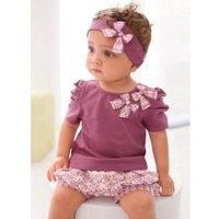 Комплект одежды для девочек Baby Cotton Suits 3-piece Children Girl Clothing Set Short Top+Pants+Headband, Send Rabbit Ears Hair Hoop