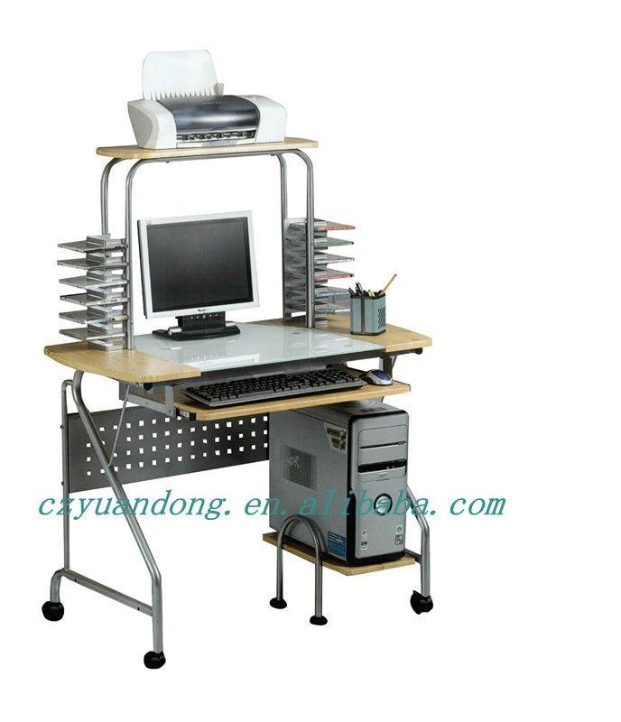 Glass Steel Wooden Computer Desk With Wheels - Buy Convenient Computer