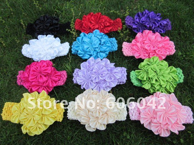 "12pcs/lot 12colors for your pick, 4.3""-4.5"" petti skirt flowers,satin flowers with Crochet headband"