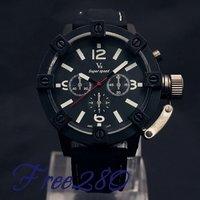 Наручные часы Ship Huge Dial Stainless Steel Wrist Watch Men Quartz Watch RED SECOND HAND METAL PUNK SCREW DECORATION CROWN PROTECTER