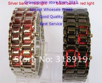 30pcs/lot водить электронные цифровые часы лавы стиль железа Самурай металл Светодиодные часы Японии вдохновил красный/синий led часы