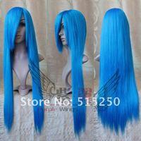 светло синий косплей прямой парик 100 см + плетение Кап