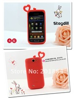 Чехол для для мобильных телефонов Loving Heart 3D silicone soft cover Case + anti dust plug For samsung Galaxy W I8150 with retail package