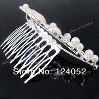 Ювелирное украшение для волос Elegant Pearl Rhinestone inlay Crown Tiara Hair Comb Drop LKT0004