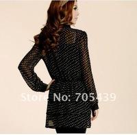 Bowknot long sleeve shirt of female money spins unlined upper garment dot